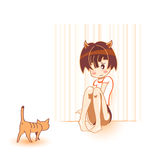 Cat and girl Stock Image