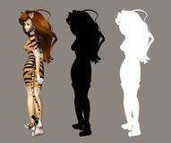 Cat Girl. Digital figure for your artistic creations Stock Photography
