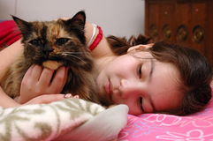 Cat and Girl Royalty Free Stock Images