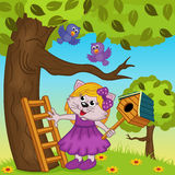 Cat girl bears a birdhouse. Vector illustration, eps Stock Photography