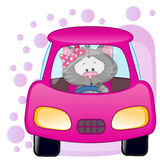 Cat girl in a car Stock Image
