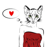 Cat girl dressed up in party dress animal illustration. Vector Royalty Free Stock Photos