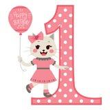 Cat Girl Happy Birthday stock illustrationer