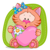 Cat girl with heart Royalty Free Stock Photography