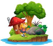Cat girl on island. Illustration vector illustration