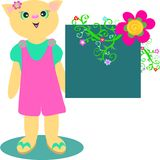 Cat Girl in Overalls with Flower Board Royalty Free Stock Photo
