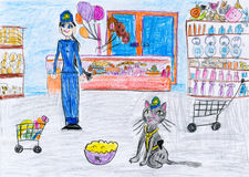 Cat and a girl in the shop. child drawing. Royalty Free Stock Photo