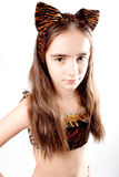 Cat girl. Tiger carnival  costume. Royalty Free Stock Photos
