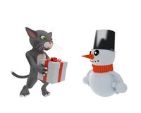 Cat gives a gift to happy snowman Royalty Free Stock Photo