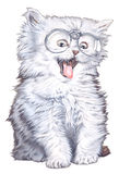 A cat with glasses. Scanned hand-drawn illustration, personified an animal Royalty Free Stock Photos