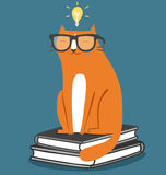 Cat in glasses. Fun school illustration Royalty Free Stock Photography