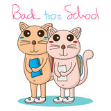 Cat go school. Illustration cute cat back to school white color background element graphic Stock Image