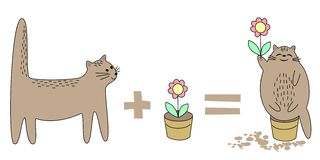 Cat goes to play with a pot. Flower in a pot. Then the animal sits in a pot, tears a flower. Pet happy smiling. Vector vector illustration