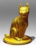 Cat. Golden figurine of a Cat sit on pedestal Stock Image