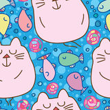 Cat good dream seamless pattern. This illustration is design and drawing abstract cat sweet dream with fish free swimming in blue color background seamless Stock Photo