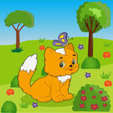 Cat on the grass among the bushes. Bright picture Royalty Free Illustration