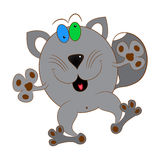 Cat gray. Cat cartoon character comic  illustration Royalty Free Stock Image