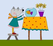The cat greets the fish  cartoon characters. Colorful graphic illustration for children Royalty Free Stock Photos