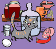 Cat in the groceries pantry. The cat and small bird in the groceries pantry. Vector drawing is based on the original sketch. The isolated objects approaching for Stock Photography