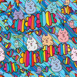 Cat group colorful seamless pattern. This illustration is design and drawing abstract cat group with birds, loves, stars and clouds with diagonal like rain Royalty Free Stock Photo