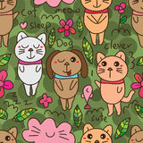 Cat group dog seamless pattern. This illustration is drawing animal cat group appeal one dog look like cat in seamless pattern stock photography
