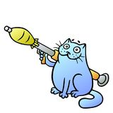 Cat guards with a grenade launcher. Vector Illustration. Cat guards with a grenade launcher. A dangerous animal. Vector Illustration. Cute cartoon blue pet Stock Photography