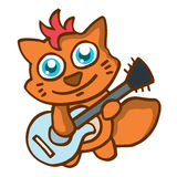Cat with guitar happy cartoon Stock Images