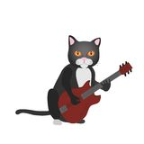 Cat guitarist Stock Image