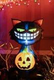 Cat Halloween Decoration nera Fotografie Stock Libere da Diritti