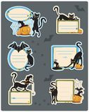 6 Cat Halloween Labels Stock Photo