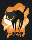 Cat Halloween Poster stylisée effrayée mignonne, illustration de vecteur illustration libre de droits