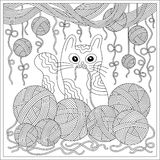 Cat. Hand-drawn cat with clews doodle pattern. Stock Photo