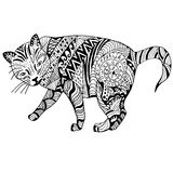 Cat Hand drawn sketched vector illustration. Doodle graphic with ornate pattern. Design  on white Royalty Free Stock Photo