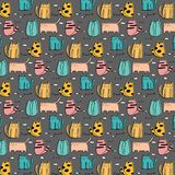 Cat Hand Drawn Vector Pattern linda Foto de archivo libre de regalías