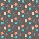 Cat Hand Drawn Vector Pattern mignonne Photographie stock libre de droits