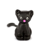 Cat. Hand made plasticine or modeling clay figure of a cat on white background.Shallow DOF Stock Images