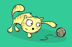Cat and hank illustration. Cartoon cat playing with hank vector illustration