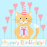 Cat Happy Birthday Fotografia Stock