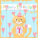 Cat Happy Birthday Immagine Stock