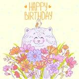 Cat Happy Birthday. Cute and beautiful cartoon cat with a bird. Stylish happy birthday card Royalty Free Stock Photography