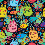 Cat happy fish dream colorful seamless pattern. This illustration is night, cute cats start dream of fish, after this goodnight in seamless pattern Stock Photography
