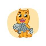 Cat Happy Holding Big Fish e sorridere Immagini Stock Libere da Diritti