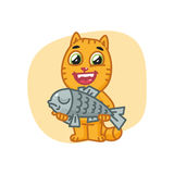Cat Happy Holding Big Fish and Smiling Royalty Free Stock Images