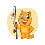 Cat Happy Holding Fishing Rod e risate Fotografia Stock Libera da Diritti