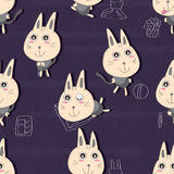 Cat Happy Seamless Pattern Stock Photo