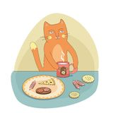 The cat has breakfast (vector) Stock Images