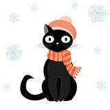 Cat in hat. Black cat in woolen hat with pompom and striped scarf sits in snow in winter. Vector illustration Royalty Free Stock Images