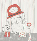 Cute vector background with cat in the  hat. Roman. Cute cat with the hat and gift Stock Photo