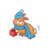 Cat in Hat  Design Flat Stock Photography