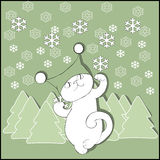 Cat in hat with fir-trees and snowflakes. Cutout Royalty Free Stock Images